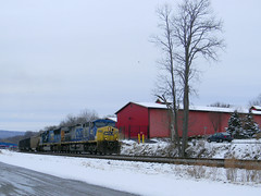 CSX 305 -Eastbound Coal Train (Photo Squirrel) Tags: maryland brunswick generalelectric locomotive coaltrain freighttrain ac44cw csx305 csxt csx railroad train snow winter tree building