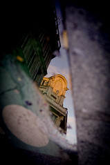 Abysses (Calinore) Tags: paris france ville city puddle flaque architecture trottoir pavement reflet reflection