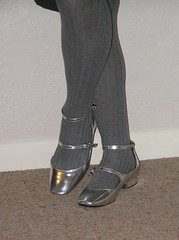Strappy silver shoes (clared02) Tags: greytights silvershoes maryjanes