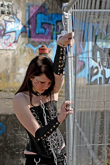 """Cuffs"" (dieter felber - kempten) Tags: portrait outdoor woman girl lolita sexy fetish bondage bdsm slave submissive domination black leather gothic cuffs collar chains sub"