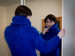 Fluffy mohair (blackietv) Tags: blue fluffy angora mohair sweater turtleneck dress long mirror tgirl transvestite crossdresser crossdressing transgender portrait