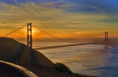 Golden Gate Bridge sunrise from Hawk Hill (cmfgu) Tags: sanfrancisco ca california vacation dawn twilight sunrise clouds color marincounty goldengatebridge hawkhill hdr highdynamicrange craigfildesfineartamericacom art wall canvasprint framedprint acrylicprint metalprint woodprint greetingcard throwpillow duvetcover totebag showercurtain phonecase sale sell buy purchase gift craigfildes artist photographer photograph photo picture prints craigfildesphotography