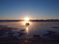 Sun rising above misty sea in -22° Celsius (Jarno Nurminen) Tags: frost cold helsinki lauttasaari winter sunrise mist