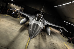 Viper (Floris M. Oosterveld) Tags: f16 fighting falcon jet shelter dark night aircraft fighter aviation military sheltered plane viper royal netherlands air force rnlaf drop tanks angled fast contrast darkness pilot canopy training mission
