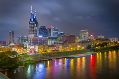 Nashville, Tennessee (Vanderbilt University) Tags: city bridge skyline night river downtown tn nashville