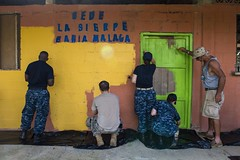 Sailors paint a school during Continuing Promise 2015. (Official U.S. Navy Imagery) Tags: colombia navy comfort continuingpromise lasierpe