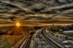 Sunset on the highway (GerWi) Tags: a72 autobahn highway autos lkw sonne sun sonnenuntergang sunset himmel sky outdoor lichter dämmerung nacht wolke landschaft