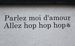 JOUR 2 : Parlez moi d'amour allez hop hop hop (Anne-Christelle) Tags: projet365 365project mots words phrases amour graffitis motsderue petitepoissone 75013paris paris13 love