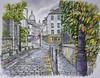 Autumn in Montmartre (jeff smith 55) Tags: montmartre paris watercolours mixed media