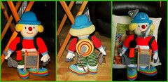 Nathan collage (Paddy Wack) Tags: clown dolls knitted knitteddolls knittedclown red blue yellow buttons washboard drum spoons grey handmade crafted musical nathancarter ennis