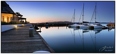 Twilight on Corlette Point (juliewilliams11) Tags: waterfront water outdoor sky boats reflection lines contrast evening twilight landscape light portstephens newsouthwales australia