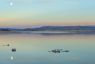 Soft tones and the moon reflection in the Mono Lake