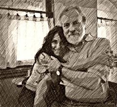 La Gloria (Franco D´Albao) Tags: francodalbao dalbao nikond60 retrato portrait dibujo drawing pareja couple bn bw monochrome sepia efecto effect amistad friendship