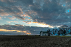 Day's Last Rays (tquist24) Tags: goshen hdr indiana nikon nikond5300 barn clouds evening farm field rural sky sunset tree trees