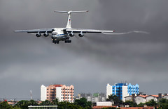 Incoming Russian Beast (LeoMuse747) Tags: ilyushin il76 il76md russian russia air force approach soviet aircraft cargo airplane smoke rain dark smoky old gaz guzzler fortaleza pinto martins intl airport for sbfz tmafortaleza leomuse747 short finals nikon d5100 nikkor 70300mm vr lens camera brasil brazil plane spotting planespotting spotter planespotter