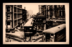 """the """" EL """" - crossing (zsgchinyc) Tags: bw chicago cta theel theloop 1919 vintagephotos chicagotribune blackwhitephotography vintagephotography nikonphotography vintagechicago nikond7000 nikond7000club nikond7000blackwhite chicagotribunehistoricalphotos"""