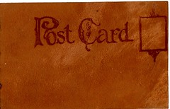 Leather Post Card (Calsidyrose) Tags: texture leather vintage typography design post graphic mail handmade postcard stock ephemera creativecommons font type layer americana typeface leatherwork t4lagree