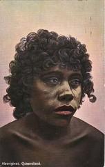 Aborigine, Queensland, Australia - circa 1910 (Aussie~mobs) Tags: queensland australia tinted postcard colouredshellseries vintage aborigine female portrait sad native indigenous aussiemobs