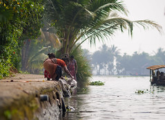 Kerala Backwaters (TeunJanssen) Tags: kerala backwaters aleppey india palmtrees water river olympus omd omdem10 travel traveling backpacking boat women washing alleppey