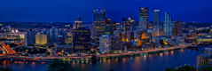 Pittsburgh Skyline, 6 Shot Stitch (Bill Varney) Tags: pittsburgh city cityscape night lights skyline water architecture reflection pirates baseball professional sports field billvarney