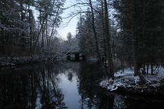 Mullica River, NJ (elisecavicchi) Tags: woods dark day overcast dawn early morning obscure hidden pond river water reflection lakeside edge pine barrens national reserve new jersey snow winter january light sunrise mood explore hammonton mullica canoe launch unbroken