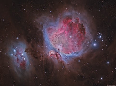 The Great Nebula in Orion (M42) (Martin_Heigan) Tags: greatnebula orion orionnebula m42 runningmannebula ngc1977 ha oiii sii osc cfa fits narrowband astronomy astrophysics astrograph telescope martin heigan astrophotography nebula deepsky dso space science physics mhastrophoto 2016 deepskyobject nebulae hydrogen interstellardustclouds molecularcloudcomplex hargb haoiiisii stars wavelengthsoflight spectral spectrum spectralline nm doublyionisedoxygen diffusenebula astrometrydotnet:id=nova1897269 astrometrydotnet:status=solved halpha hα o2 gasanddust starstuff universe cosmos cosmology hubblepalette hst explore widefield amateurastronomy wow detail light 400700nanometersnm