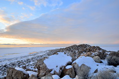 Ladyfinger in the evening light (Great Salt Lake Images) Tags: winter sunset ladyfinger antelopeisland greatsaltlake utah