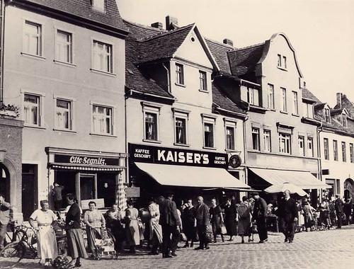 Hettstedt - Partie am Markt - vor Bombenabwurf im April 1945