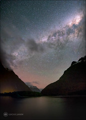 Night at Milford Sound (Lucas Janin | www.lucasjanin.com) Tags: blue ciel cloud color couleur landscape longexposure longueexposition milkyway montagne mountain night nuage nuit outdoor sky star voielactée milfordsound westcoast newzealand fujifilm xf16mmf14rwr lucasjanin 16mm 24mm f20 xt1 300sec iso6400 lightroom lightroom6