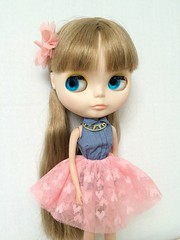 Fun (RoxyPaige) Tags: flower shirt necklace factory tank fake tanktop denim blythe brunette bangs ponytails tutu pinktutu barbieshirt minijijoskirt