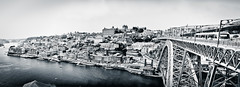 Porto (Dave G Kelly) Tags: city bridge blackandwhite portugal monochrome architecture buildings river outdoors day metro tram porto riverbank duoro canonef2470mmf28l elevatedview canonef2470mm canonef2470mmf28liiusm