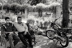 The gardner and the security guard (.Ali Sharifan.) Tags: park street blackandwhite bw monochrome fuji iran guard fujifilm tehran gardner parkeshahr xe2