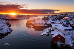 Winter at Nautnes (huddart_martin) Tags: seascape landscape building sound norway norge nautnes øygarden sotra hordaland sunset evening dusk sun snow winter sea water boathouse boats