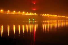 Humber Misty Reflections (alan.irons) Tags: reflections lights orange red green road bridge humberbridge humberside riverhumber tower roadway suspension nightshot night northbank northlincolnshire mist fog shimmer canon eos1dxmk2 24105mm atmospheric