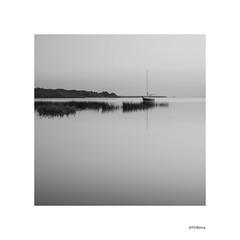 Moored Sailboat at Sunrise B&W. (local37) Tags: gull lake sailboat craft bw le sunrise overcast calm 2014