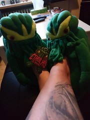 They are R'lyeh comfy... (Birdiebirdbrain) Tags: cthulhu lordofrlyeh slippers cthulhuslippers lovecraft hplovecraft