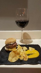 Mini burger and wine.
