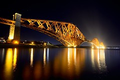 The Forth Rail Bridge at night (iancowe) Tags: forth rail bridge forthrailbridge forthrailwaybridge railway riverforth southqueensferry northqueensferry cast iron unesco world heritage site networkrail edinburgh fife night floodlit illuminated victorian era engineering civil scotland scottish uk britain reflection reflections