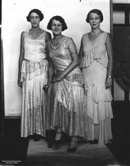 Three women in evening gowns at a fashion parade (State Library of Queensland, Australia) Tags: fashion 1930s formaldresses frock pearls