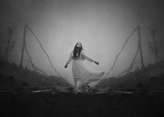 Running In Circles (Maren Klemp) Tags: fineartphotography fineartphotographer selfportrait blackandwhite monochrome fog foggy conceptual surreal nature outdoors naturallight dreamy ethereal evocative expressive symbolic trees imagination fairytale whitedress woman portrait running