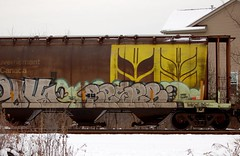 Reser (Chicago City Limits) Tags: freight train graffiti graff grainer grainers hopper hoppers railroad rails tracks reser
