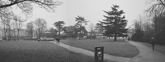 op - royal pump room gardens pen-o-rama (johnnytakespictures) Tags: olympus ee3 pen film analogue blackandwhite black white bw grain grainy expired expiredfilm kodak kodakprofessional bw400cn leamington leamingtonspa warwickshire pumproom gardens garden park nature natural panorama penorama misty winter cloud cloudy mist fog foggy