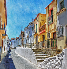 Mad dogs and Englishmen (sidibousaid60) Tags: street houses sun hot photoshop town spain quiet andalucia textures corelpainter alpujarras órgiva