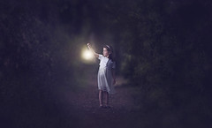 Alone in the woods (Wojtek Piatek) Tags: ireland light portrait dublin topf25 lamp girl forest dark lost woods alone child sony magic fear small 100v10f lantern scared portret enchanted raheny saintannespark zeiss135 sonya99