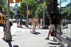 white horse in the distance (omoo) Tags: newyorkcity girls people crowd westvillage streetscene summertime greenwichvillage abingdonsquare summerfashions dscn5292 west11thandbleecker marcjacobswomen prettygirlss whitehorsetaverninthedistance