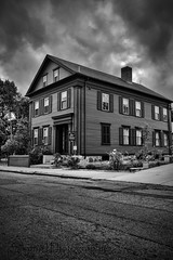 House of Horror - Lizzie Borden House Fall River MA (Silverio Photography) Tags: street blackandwhite fall photoshop canon river sigma lizzie elements borden 1770 hdr topaz adjust massachuetts 60d