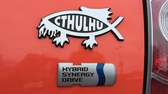 Cthulhu Hybrid Synergy Drive (Adrian Cooke) Tags: new york fish sticker jesus upstate prius cthulhu wegmans ithaca cthulu ichthys