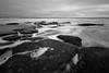 Washing Out (Matt Creighton) Tags: kure beach coquina rock outcrop north carolina seascape rocks ocean atlantic black white tidal tide low long exposure nikon d7200 tokina 1124mm sea foam