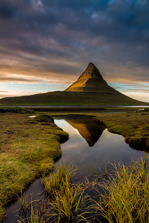 Last light on Kirkjufell Iceland