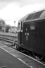 MRC 52888bw (kgvuk) Tags: midlandrailwaybutterley midlandrailwaycentre railways trains locomotive diesellocomotive railwaystation swanwickjunctionstation class47 47401 northeastern